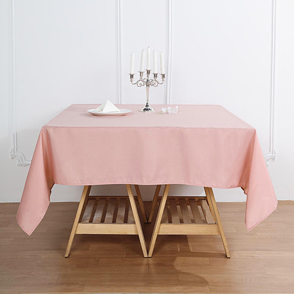 "70"" Dusty Rose Square Polyester Tablecloth"