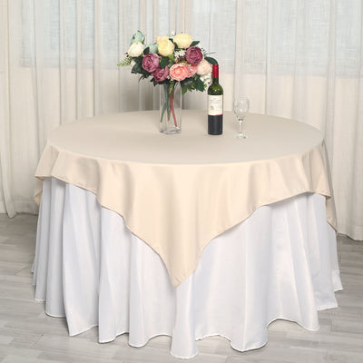 "70"" Beige Premium Square Polyester Tablecloth"