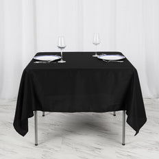 70inch Black Square Polyester Tablecloth