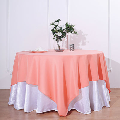 70inch Coral Square Polyester Tablecloth