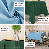 "70"" Teal Square Polyester Tablecloth"