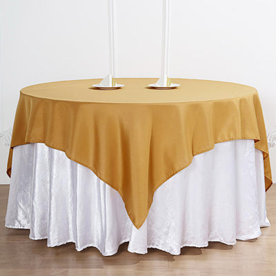 70 inch Gold Premium Square Polyester Tablecloth