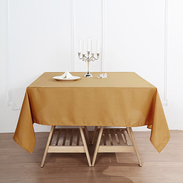 "70"" Gold Square Polyester Tablecloth"