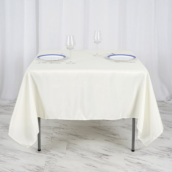 "70"" Ivory Square Polyester Tablecloth"