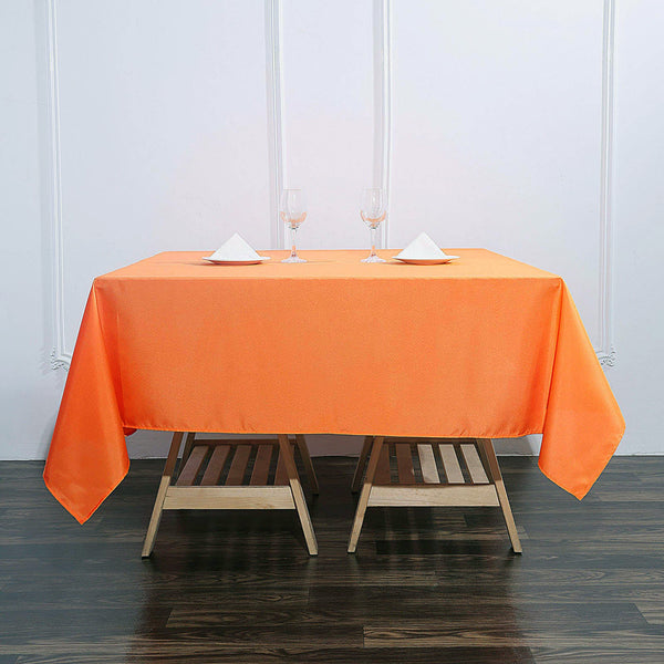 "70"" Orange Premium Square Polyester Tablecloth"