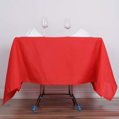 70inch Red Square Polyester Tablecloth