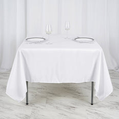 70inch White Square Polyester Tablecloth