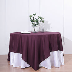 90 inch Eggplant Square Polyester Table Overlay