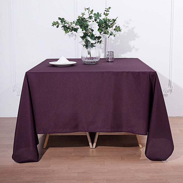 "90"" Eggplant Square Polyester Tablecloth"