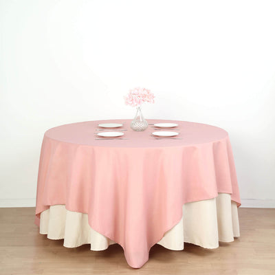 "90"" Dusty Rose Square Polyester Tablecloth"