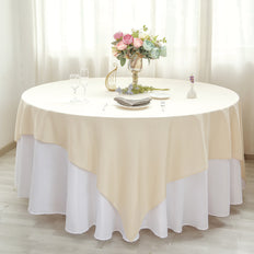 "90"" Beige Square Polyester Table Overlay"