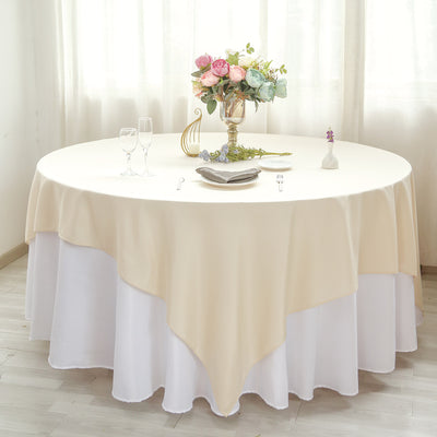 "90"" Beige Premium Square Polyester Table Overlay"
