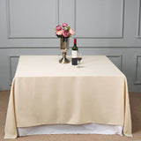 "90"" Beige Square Polyester Tablecloth"