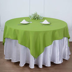 "90"" Apple Green Square Polyester Table Overlay"