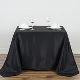 "90"" Black Square Polyester Tablecloth"