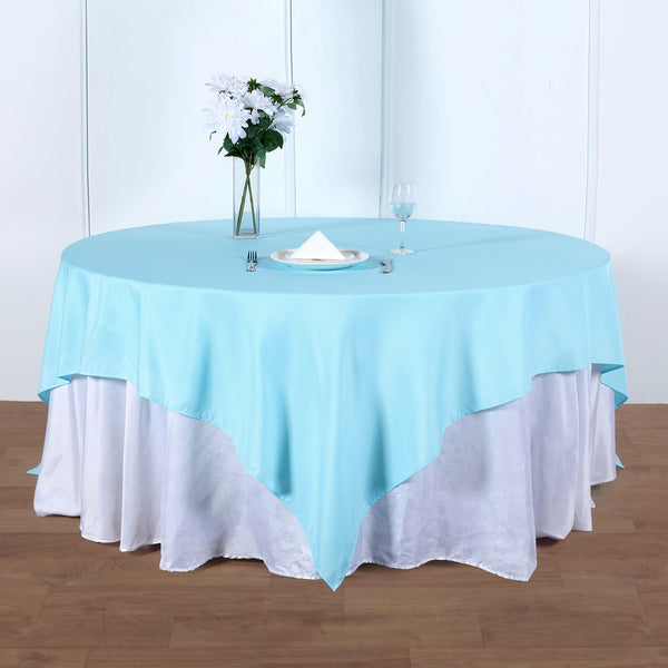 "90"" Blue Square Polyester Table Overlay"