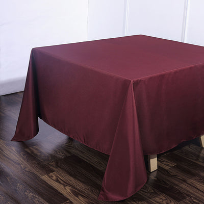 90 Inch Burgundy Square Polyester Tablecloth