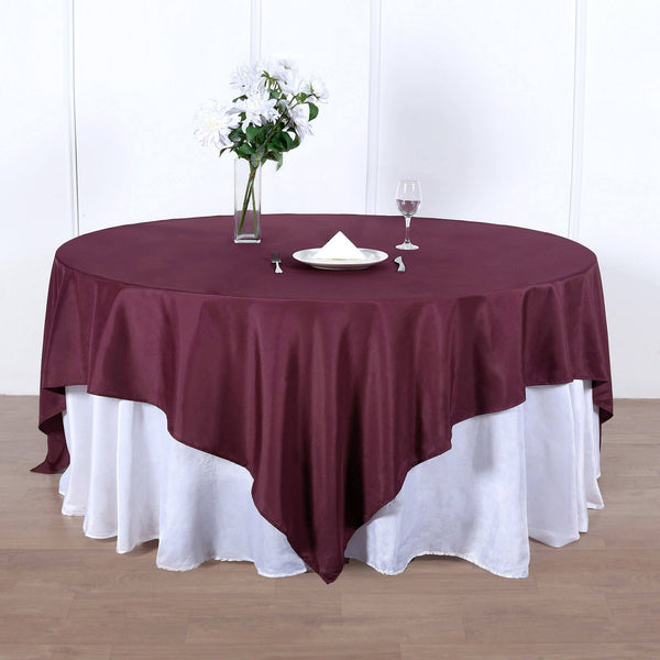 "90"" Burgundy Square Polyester Table Overlay"