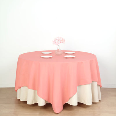 "90"" Coral Square Polyester Table Overlay"