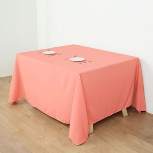 "90"" Coral Square Polyester Tablecloth"