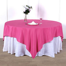 90inch Fushia Square Polyester Table Overlay
