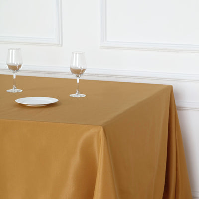 "90"" Gold Premium Square Polyester Tablecloth"