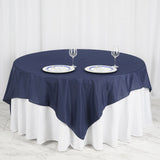 "90"" Navy Blue Square Polyester Table Overlay"