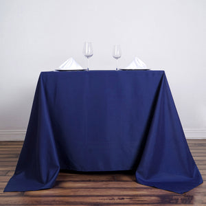 "90"" Navy Blue Premium Square Polyester Tablecloth"