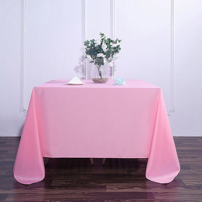 90 Inch Pink Square Polyester Tablecloth
