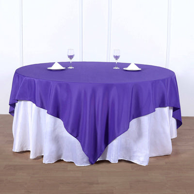 90inch Purple Square Polyester Table Overlay