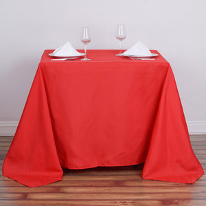 "90"" Red Square Polyester Tablecloth"