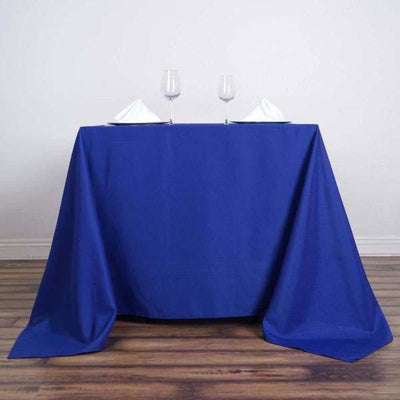 "90"" Royal Blue Square Polyester Tablecloth"