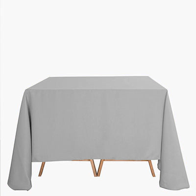"90"" Silver Square Polyester Tablecloth"