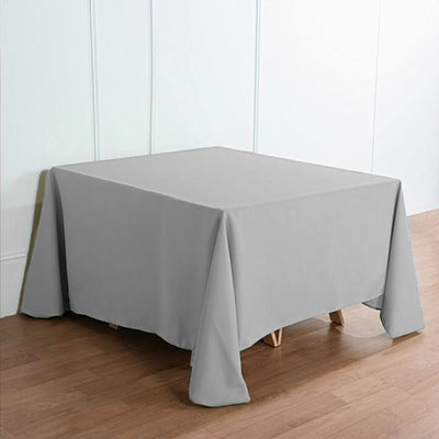 90inch Silver Square Polyester Tablecloth