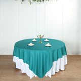 90inch Teal Square Polyester Table Overlay