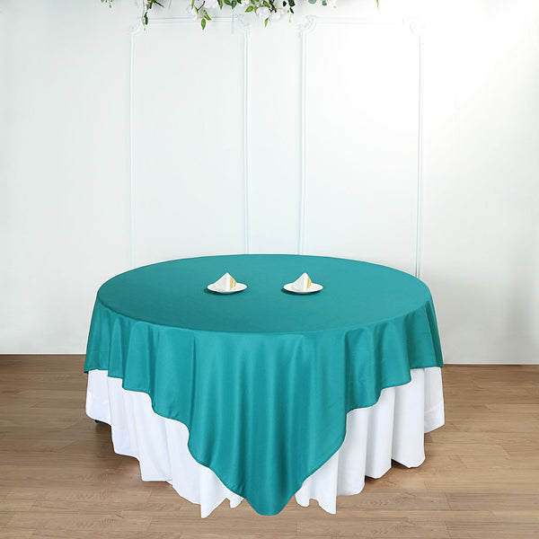 "90"" Teal Square Polyester Table Overlay"