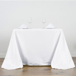 "90"" White Square Polyester Tablecloth"