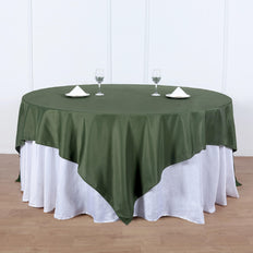 90inch Moss Green Square Polyester Table Overlay