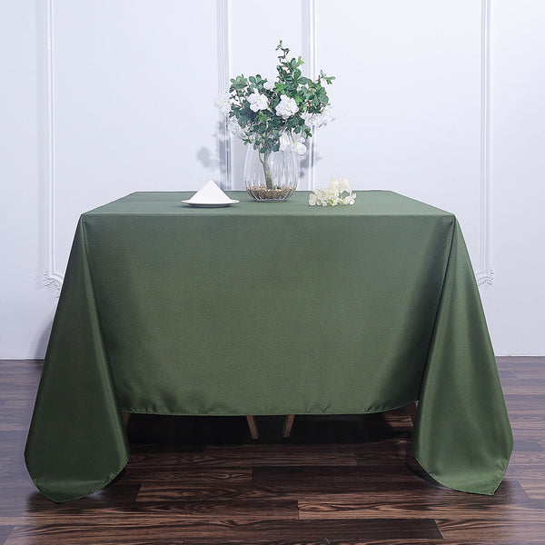 "90"" Moss Green Square Polyester Tablecloth"