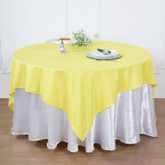 90 Inch | Yellow  Square Polyester Table Overlay