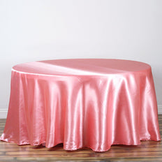"108"" ROSE QUARTZ Wholesale SATIN Round Tablecloth For Wedding Banquet Restaurant"