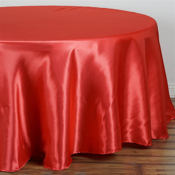 "108"" Coral Satin Round Tablecloth - Clearance SALE"
