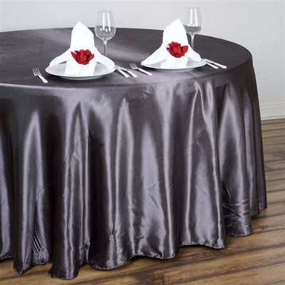 "108"" Charcoal Grey Wholesale SATIN Round Tablecloth"