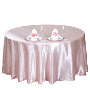 "108"" Satin Round Tablecloth Rose Gold