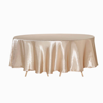 "108"" Beige Satin Round Tablecloth"