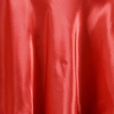 "108"" Coral Satin Round Tablecloth"