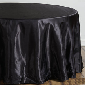 "108"" Black Satin Round Tablecloth"
