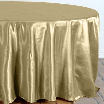 "108"" Champagne Satin Round Tablecloth"