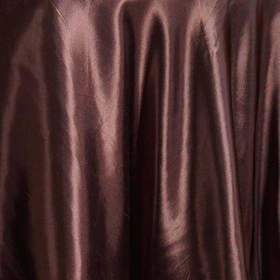 "Chocolate 108"" Satin Round Tablecloth"