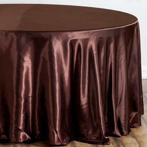 "108"" Chocolate Satin Round Tablecloth"